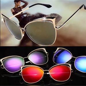 Oversized Cat Eye Sunnies ~Mirrored ~ Multi Colors